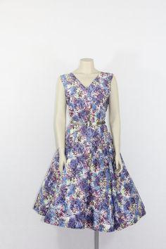 1950s Vintage Dress   XL Floral Cotton by VintageFrocksOfFancy, $140.00