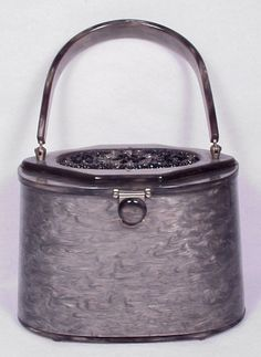 Vintage RIALTO New York Grey Lucite Glass Beaded Top Purse