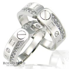 White gold wedding rings together with strange patterns