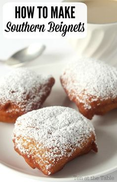 Beignets are no different than Austrian doughnuts. Tastes exactly the same. How to Make Southern Beignets Just Desserts, Delicious Desserts, Dessert Recipes, Yummy Food, Donut Recipes, Cooking Recipes, Pasta Recipes, Comida Disney, Southern Recipes