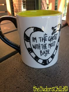 Quote from Tim Burtons Beetlejuice! Hand painted pottery mug Original designs-one of a kind! theTudorsChild© Made to order Takes a week to D House, Wicked, Cute Mugs, Mug Shots, Tim Burton, Mug Cup, Halloween, Just In Case, Coffee Cups
