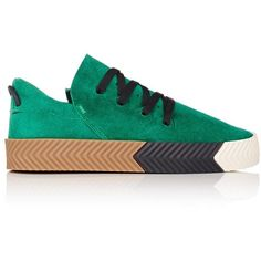 adidas Originals by Alexander Wang Women's Skate Sneakers ($180) ❤ liked on Polyvore featuring shoes, sneakers, green, platform shoes, platform sneakers, urban shoes, polka dot shoes and striped sneakers