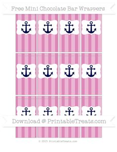 Free Pastel Fuchsia Striped Nautical Mini Chocolate Bar Wrappers