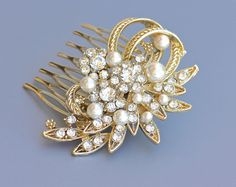 Gold Hair Comb Gold & Pearl Bridal Comb Wedding Hair by JamJewels1