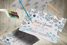Watercolor business card by Webvilla on @creativemarket