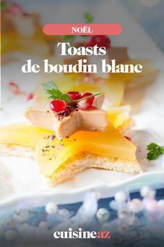 Pour l'apéritif de Noël, ces toasts sucrés-salés au boudin blanc et pomme auront toute leur place sur votre table. #recette#cuisine#toast#apero#aperitif#boudinblanc#pomme#sucresale#noel#fete#findannee#fetesdefindannee