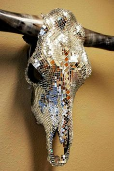 Cowgirls Prayer Mirrored Longhorn cow skull made by Desiree Rodgers on Facebook at WesTique Desi-gns