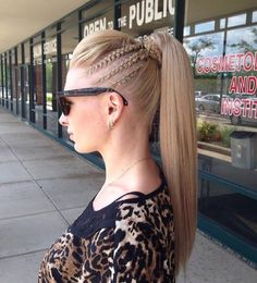 A French braid ponytail may conjure up images of elementary school days, but the modern iterations are anything but juvenile. When you want to wear a fuss-free updo, but grow bored easily of simple styles, a braided option is an ideal look for you. Pigtail Hairstyles, African Hairstyles, Braided Hairstyles, Cool Hairstyles, Hairstyles Haircuts, Hair Plaits, Hair Twists, Dreadlock Hairstyles, Hair Updo