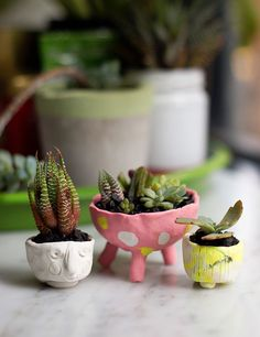 DIY Polymer Clay Mini Succulent Planters - Perfect for kids to make and display in a doll house, to make as gifts or for school craft fairs. mypoppet.com.au