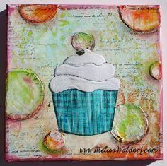 Paperlicious Designs: Mixed Media Cupcake Canvas'