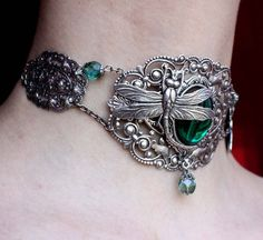 Steapunk jewelry Gothic necklace filigree fantasy Emerald green necklace Dragonfly Victorian pendant