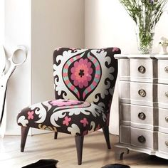50's Suzani Fabric Upholstered Chair- need a chair like this one day for office or my area