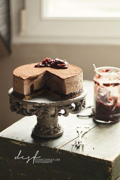 Honey-chestnut mousse cake with sour cherry touch