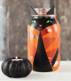 Geo Halloween Kitty Mason Jar