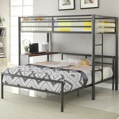 Workstation Twin over Full Loft Bed Coaster Furniture in Kids Loft and Bunk Beds. Twin-over-Full Workstation Loft Bed by Coaster Furniture. Bunk Bed With Desk, Bunk Beds With Stairs, Full Bunk Beds, Kids Bunk Beds, Full Bed, Loft Bunk Beds, Modern Bunk Beds, Metal Bunk Beds, Modern Loft