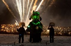 The festival finale sees Jack Frost defeated by the Green Man. Marsden, Huddersfield, in northern England.