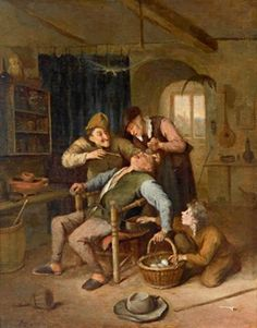 At the dentist's by Jan Steen in Alte Meister on October 2007 at the null null sale null, lot 221 Gerrit Dou, Nicolas Poussin, Gian Lorenzo Bernini, Anthony Van Dyck, Dutch Golden Age, Peter Paul Rubens, Hooch, Caravaggio, Rembrandt