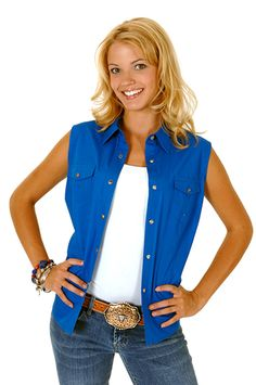 Roper Womens Blue 100% Cotton Sleeveless Solid Poplin Snap Western Shirt