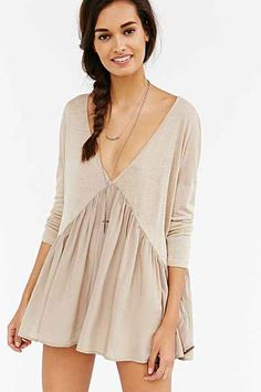 Kimchi Blue Double-V Babydoll Top - Urban Outfitters rayon linen