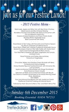 Our Festive Lunch is filling up fast!  Book soon to avoid disappointment!  www.trefwales.com 01654 767213