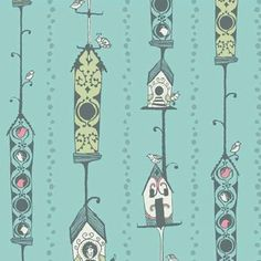 Sarah Watts - Feather N Stitch - Bird House in Turquoise: love, love love this collection!