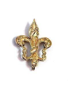 Fleur des Lis Gold Brooch Antique Charm Hanger by justvintage4u