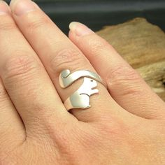 Handmade sterling silver squirrel wrap ring