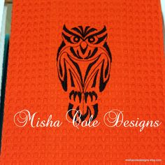 Fall Black Owl Embroidered on Orange Tea Towel by mishacoledesigns, $13.00