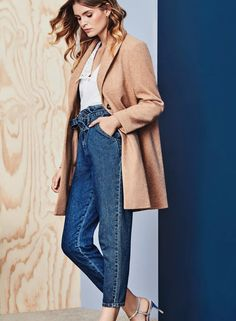 The camel coat is a timeless option for autumn/winter. Style it with paperbag-waist jeans for a fresh take on weekend style.