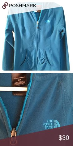 The North Face fleece jacket Teal, zip up, hooded jacket. Worn once, hand washed, never dried. Size Small North Face Jackets & Coats