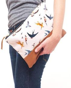 Bird Print Clutch / One Eleven Studio