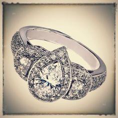 Pear Shape Diamond Vintage Engagement Ring half moon side stones