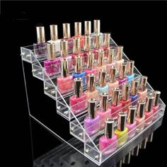 WD Hot Sale Acrylic Nail Polish Display Clear Cosmetic Varnish Stand Organizer 6 Tiers -- Learn more by visiting the image link. (This is an affiliate link) Nail Polish Stand, New Nail Polish, Cosmetics Display Stand, Cosmetic Display, Makeup Display, Mascara, Eyeliner, Clear Acrylic Nails, Acrylic Display Case