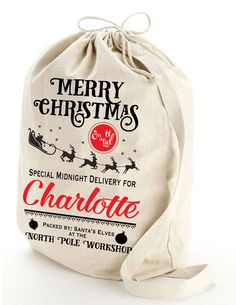 Personalized Santa Sack - special deliveries straight from the North Pole! Merry Christmas Special Midnight Delivery For: NAME OF CHILD Packed