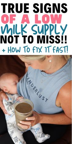 True Signs Of A Low Milk Supply Not To Miss READ! Breastfeeding mamas need to know the true signs of a low milk supply and how to increase milk supply fast. Boost Milk Supply, Increase Milk Supply, Milk Production Increase, Breastfeeding Positions, Breastfeeding And Pumping, Breastfeeding Nutrition, Breastfeeding Problems, Lactation Recipes, Lactation Cookies