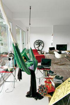 Inside Director Alfonso Cuarón's Residence in Pietrasanta, Italy Italy House, Interior Styling, Interior Design, Indoor Hammock, Hanging Chair, Design Inspiration, House Design, Outdoor Decor, Vanity Fair