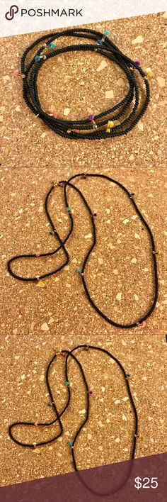 """Shashi Lilu Multicolored Tassel Layering Necklace Brand new, never worn. Tiny tassels (.25"""") in different fun colors, matte black glass seed beads and gold plated beads framing the tassels. 29"""" long.  25% off bundles of 3+ Nordstrom Jewelry Necklaces"""