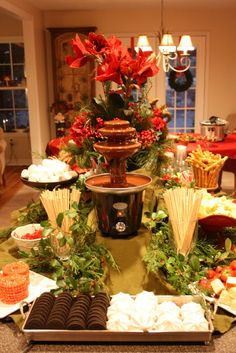 Chocolate Fountain - on a rectangular table....better for reaching than a round?