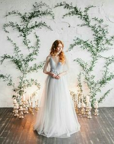 Stylish and chic ideas for an indoor wedding ceremony with trailing vine and can. Stylish and chic ideas for an indoor wedding ceremony with trailing vine and candlelight by Polina Red Wedding Dresses, Wedding Gowns, Wedding Venues, Bridal Gown, Tulle Wedding, Indoor Wedding Ceremonies, Wedding Ceremony Backdrop, Wedding Backdrops, Outdoor Weddings