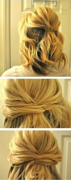 Updo Hairstyles Tutorials for Medium Hair: Simple Half Updos - PoPular Haircuts Updo Hairstyles Tutorials, Side Hairstyles, Wedding Hairstyles, Trendy Hairstyles, Hairstyle Ideas, Bun Hairstyle, Bangs Updo, 2015 Hairstyles, Braid Hair