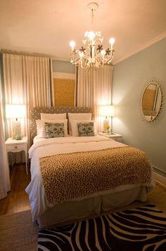 eliware: Turquoise LA - White drapes, headboard, bamboo roman shade, black zebra rug, turquoise ...