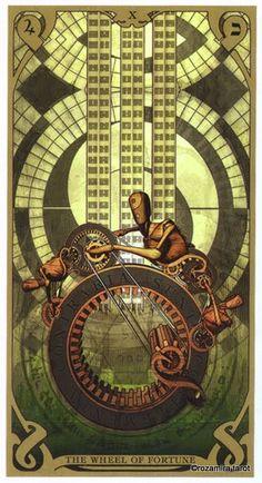 The Wheel of Fortune - Night Sun Tarot by Fabio Listrani All Tarot Cards, Le Tarot, Divination Cards, Online Tarot, Tarot Major Arcana, Wheel Of Fortune, Oracle Cards, Tarot Decks, Pretty Art