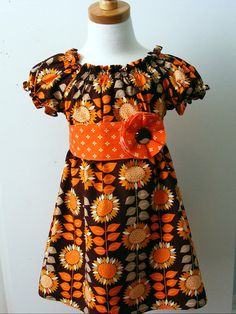 Fall Sunflower  Peasant Dress with sash and flower pin  (12 mos, 18 mos,  2T, 3T, 4T, 5, 6, 8)
