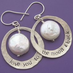 Love You To the Moon & Back Earrings by sudlow on Etsy, $55.00