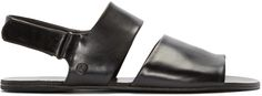 Marsèll: Black Leather Two Band Sandals | SSENSE Mens Slippers, Leather Sandals, Black Leather, Band, Clothes, Accessories, Collection, Shopping, Shoes
