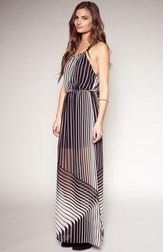 LINEAR THINKING :: BLACK + WHITE MAXI DRESS #PynkNylon #dress #maxi #allblackeverything #whiteout #stripes #fashion #shopitrightnow #ootd