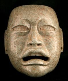 "Barakat Collection Olmec Jade Mask - CK.0740 Origin: Mesoamerica Circa: 1200 BC to 500 BC  Dimensions: 8.25"" (21.0cm) high x 7.5"" (19.1cm) wide  Collection: Pre-Columbian Medium: Jade  $600,000.00  Location: United States"