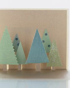Stand-Up Figure Cards ~ create a forest of staggered pop-up trees with instructions from Martha Stewart