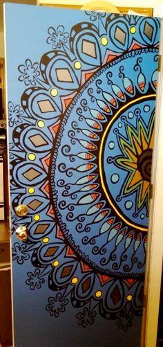 mandala mural i did on the garage/house door... by Allison Walter 7/2013