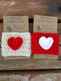 SALE 2Valentines Day Crochet Coffee Cozy / by BabyofftheHook, $10.00